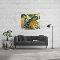 Parrots couple in the tree tops Wall Tapestry by tanjariedel