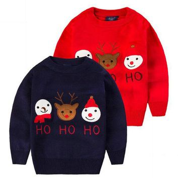 Christmas costumes for boys girls sweater New Year designer for children jumper kids knitwear girl pullover with deers KD002