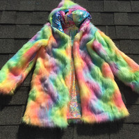 READY TO SHIP - Rainbow Inside Out Funky Festival Reversible Unique Fake Fur Coat Jacket Vest| Burning Man | Symbiosis | Coachella |