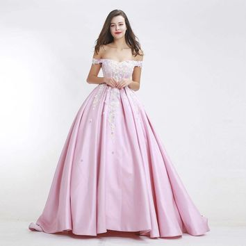 Luxury Prom Dress for Woman Sexy Lace Ball Gown Pink flower Party Dresses Romantic Puffy Bridal Dress