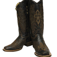 Corral Brown Bone Wing and Cross Square Toe Boots A1999