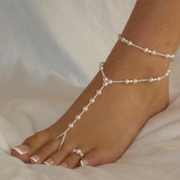 deals] Elegant Pearl Chain Foot Jewelry Toe Ring Barefoot (Color: White) [7860146439]