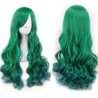 New Harajuku High Quality Fashion wigs female oblique bangs high temperature wire ombre wig party wigs Dark Green Long Wig curly (Size: 68 cm, Color: Dark green) = 1945815364
