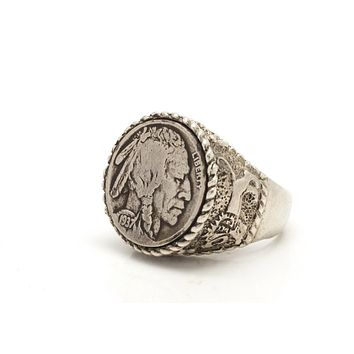 Buffalo Nickel Old, Collector's Coin Ring - Coin of USA