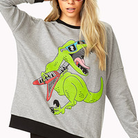 FOREVER 21 Too Cool Dinosaur Sweatshirt Heather Grey/Green Small