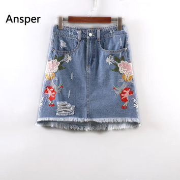 Denim Skirts Womens 2017 Vintage Flower Embroidered Jeans Skirt Female High Waist Mini Skirt Summer A-Line