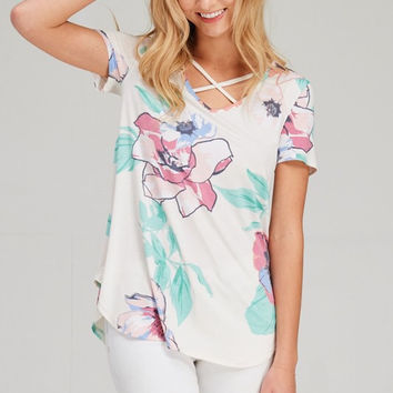 Meet Me in Miami Floral Top - Off White