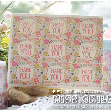 """270pcs(30sheet) Colorful """"Thank you"""" With Flowers Sticker For Bottle Packaging Bags Seal Wedding Decoration Stickers ST002"""