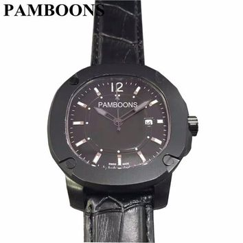 Men's Leather Strap Military Watch