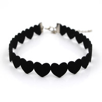 Heart Shaped Goth Black Velvet Choker Necklace Gothic Vintage Tattoo Ribbon Neckless Collar Jewelry For Women Punk Chocker