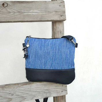 Cotton BLUE  smaller shoulder bag, everyday hobo bag, crossbody canvas bag, blue leather crossbody purse, leather and canvas purse, sea bag