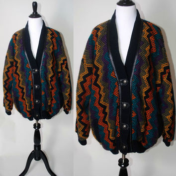 vtg 1980s knit zig zag print Missoni style COCOON button down faux Leather trim sweater COAT oversized jumper shaggy draped cozy Pockets