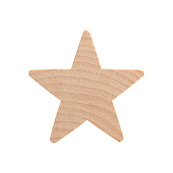 "2"" Wood Star, Natural Unfinished Wooden Star Cutout Shape (2 Inch) - Bag of 25"