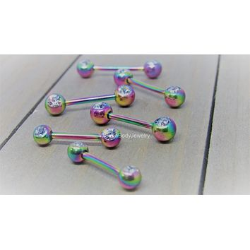 "Rainbow nipple barbell front facing gems clear 14g 1/2"" 9/16"" 5/8"" pair"