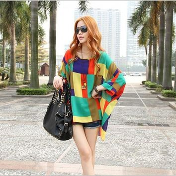 New Fashion Bohemian Style Women Oversized Dolman Sleeve Colorful Chiffon Shirt Tops Blouse L XL