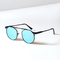Matte Black Round Metal Sunglasses