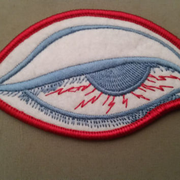red eye embroidered patch