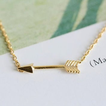 Arrow Necklace, Robin Hood Arrow Necklace, Sideways Arrow Charm Necklace, Cute Arrow Necklace (18K Gold Plated, Silver Plated)