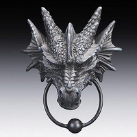 Ancient Elder Guardian Head Dragon Door Knocker Figurine Home Decor Statue