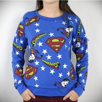 Superman Reversible Long Sleeve Junior Fitted Tee