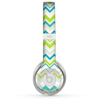 The Green & Blue Leveled Chevron Pattern Skin for the Beats by Dre Solo 2 Headphones
