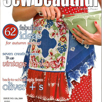 Sew Beautiful Magazine Issue 126 Sept Oct 2009 Victorian Corset Cover Petal Shirt Sewing Pattern Hankies Embroidery Smocking Heirloom
