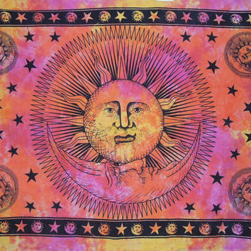 Psychedelic Celestial Sun Moon Tie Dye Tapestry, Stars Tapestry, Indian Tapestry, Wall Hanging Tapestry, Teen Age Dorm Bedding, Sun-Moon