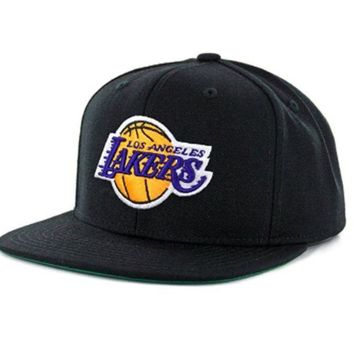 ONETOW Los Angeles Lakers Name Solid Black Adjustable Snapback Hat / Cap