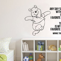 Wall Decal Vinyl Sticker Decals Art Decor Design Cartoon Winnie The Pooh and Piglet Lettering Baby Kids Children Nursery Bedroom (r192)