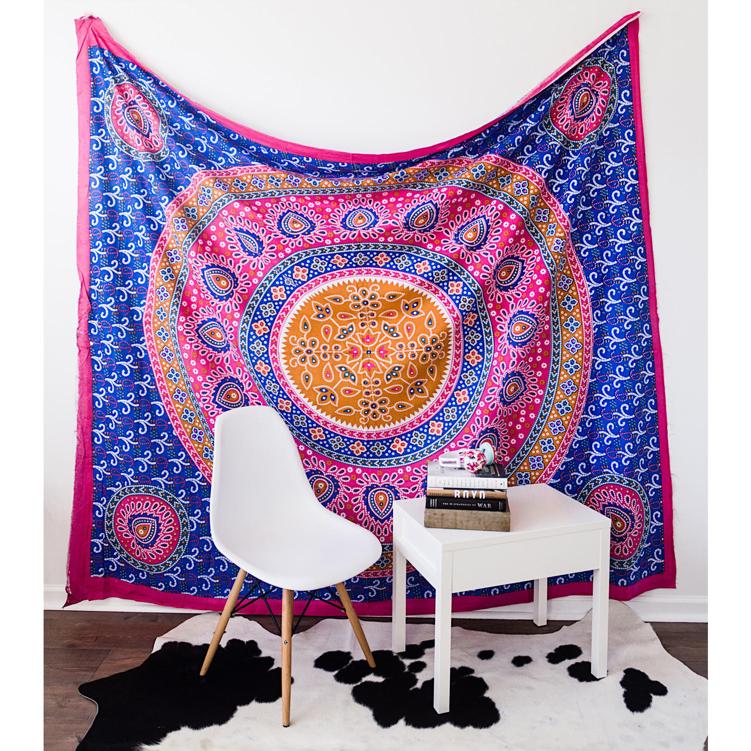 color indian bedspread mandala dp wall blue cms blanket art amazon medallion craft com india hippie x tapestries tapestry hanging picnic theme cotton
