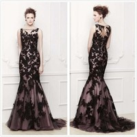 Mermaid High Neck Black Applique Lace Cocktail Evening Dresses Prom Wedding Gown