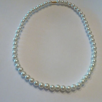 Vintage Pearl Strand Necklace Prom Bride Wedding Costume Jewelry