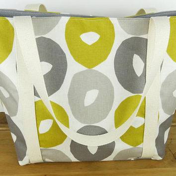 Mustard and grey retro shoulder bag, Funky fabric tote bag, Lined canvas beach bag with long or short handles, Tote with pockets, Yellow bag