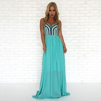Tulum Blue Crochet Maxi Dress