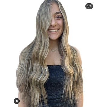 "ABBEY lace front wig 24"" long ash blond balayage hair"