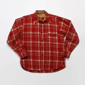 Vintage 50s MCGREGOR SHIRT / 1950s Men's Red Plaid Wool Button Down Shirt L