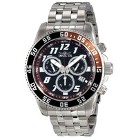 Invicta 14512 Men's Pro Diver Brown & Black Bezel Black Dial Steel Bracelet Chronograph Dive Watch