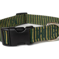 Festive Green and Gold Striped Dog Collar with Optional Red Bow Tie