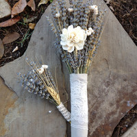 Custom Order for (jeae4ever), 5 Bridal Bouquets, 5 Boutonnieres, Dried Lavender, Tallow Berries, Blond Wheat, Sola Flowers, Lace Ribbon