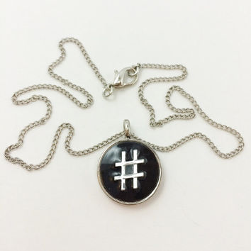 Hashtag necklace / hashtag jewelry / twitter necklace / black jewelry / symbol jewelry / trendy jewelry / # jewelry / silver necklace