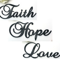 "Faith Hope Love Sign, Large 24"" Wooden Sign"