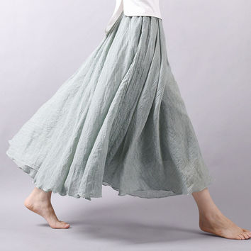 New Fashion Long Skirts 2016 Women Linen High-Waist Pleated Midi Skirts Elegant Ladies Slim Elastic Waist Long Skirt