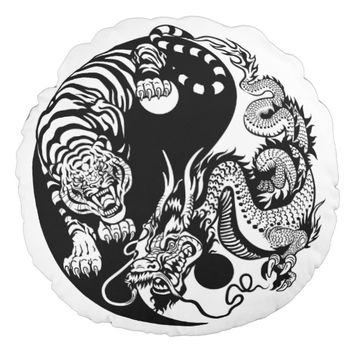 dragon and tiger yin yang symbol round pillow