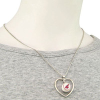 Cleveland Indians 3D Baseball Heart Pendant Necklace