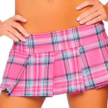 Hot Pink Plaid 6 Inch Mini Skirt