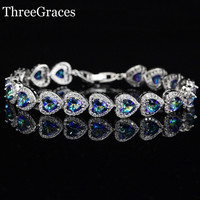 Luxury CZ Diamond Jewelry Gift Sparkling Blue Mystic Topaz Heart Crystal 925 Sterling Silver Tennis Bracelet For Women BR84
