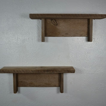 Cute small wood wall shelf set of 2 great patina 16 wide 4 deep