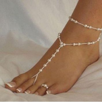 ONETOW Fashion simple double deck beach footsteps pearl foot ring
