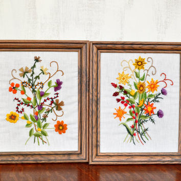 Pair of Vintage Crewel Wall Hangings, Framed Embroidery, Floral Picture