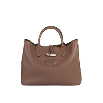 Longchamp Womens Clay Grey Roseau Leather Tote